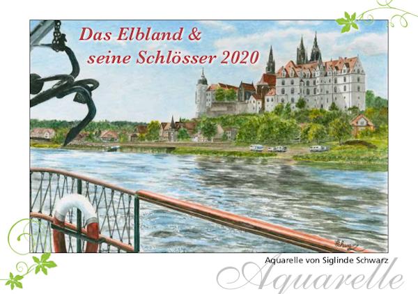"""Aquarellkalender 2020 Schwarz Malerei Meißen - Titelbild """"Das Elbland und seine Schlösser"""""""